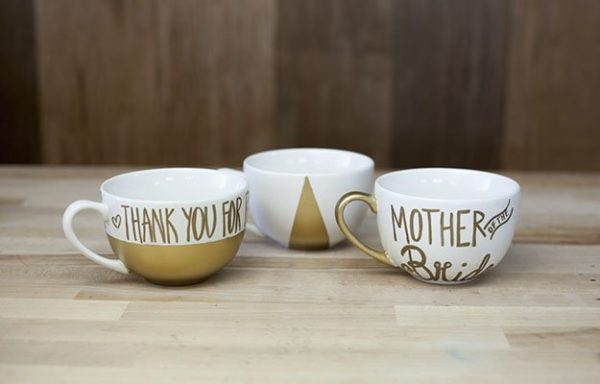 DIY Wedding Gifts | Hand Painted Gold Mugs