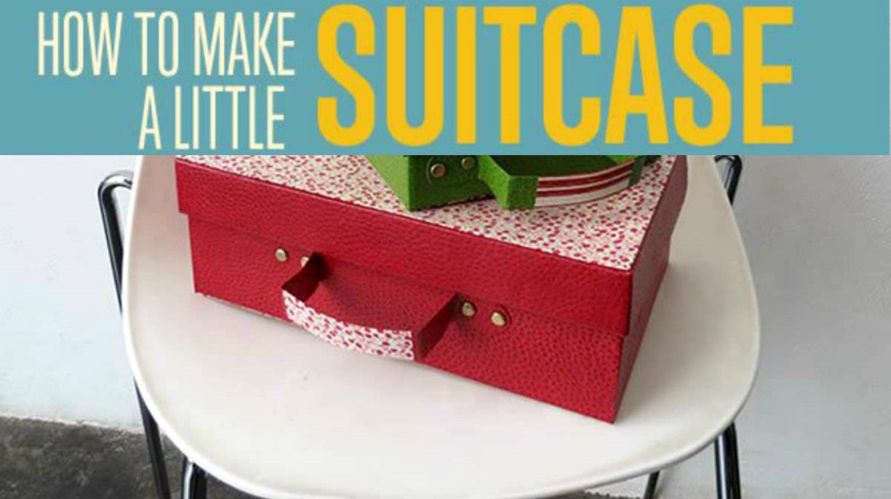 cardboard suitcase on chair | How To Make A Little Cardboard Suitcase | Craft Projects | make a little cardboard suitcase | Featured