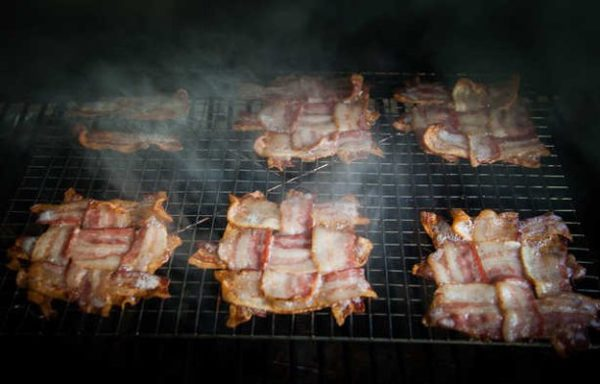 Bacon weave in the oven.