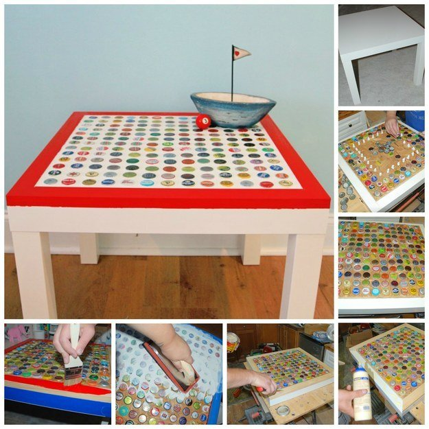 Bottle Cap Tabletop | Ways To Transform Your Old Furniture