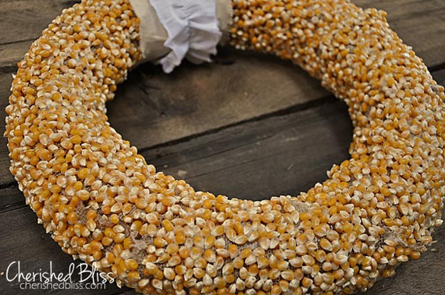 Fall Popcorn Wreath | 9 Fun Fall Wreath Ideas How To Make Front Door Wreaths