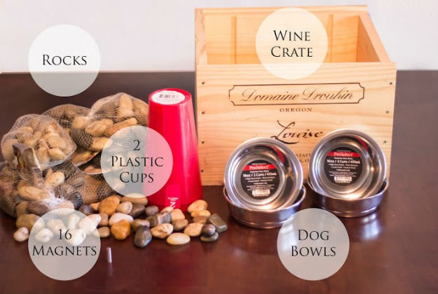 Upcycled Wine Crate Dog Bowl Station