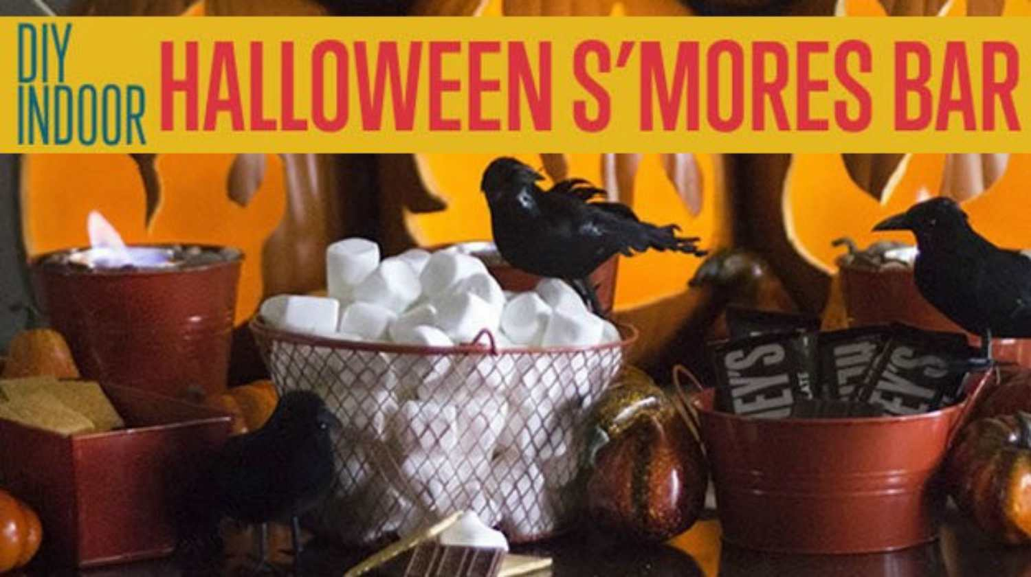 indoor halloween s'mores | DIY Halloween S'mores Bar Food Idea For An Indoor Party | halloween s'mores bar | smores bar how to | Featured