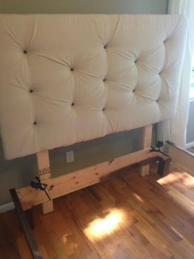 How to build a headboard and bed frame diy projects craft for Makeshift headboard