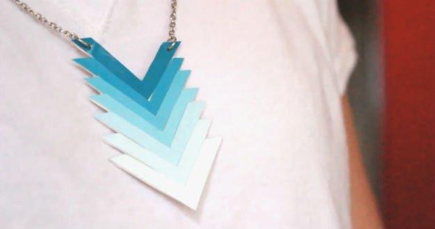 DIY Ombre Paint Chip Chevron Necklace | 17 Amazing DIY Paint Chip Projects -