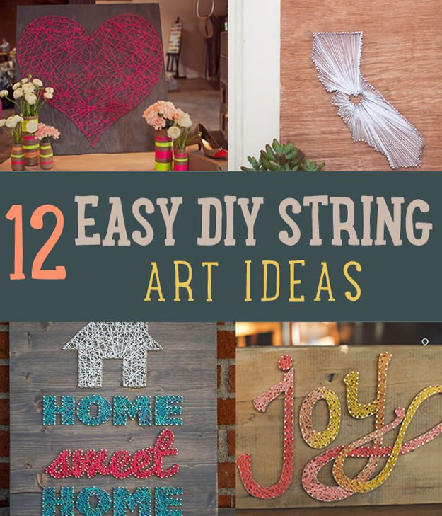 Simple Home Art Decor Ideas: Easy String Art For Homes DIY Projects Craft Ideas & How