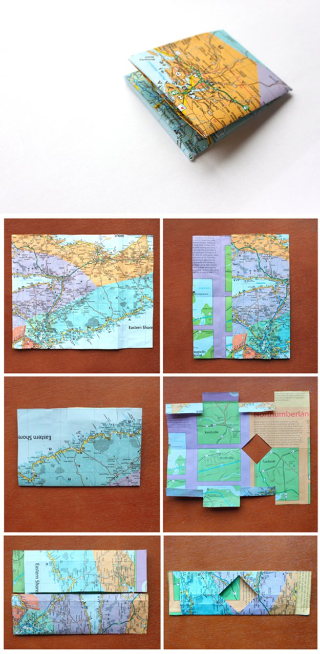DIY Paper Map Wallet | Creative and Awesome Design Using Old Maps | www.diyprojects.com/32-inventive-uses-for-old-maps/