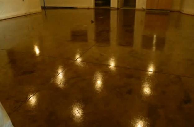 Acid Stain Concrete Floor Decor DIY | www.diyprojects.com/how-to-acid-stain-a-concrete-floor/