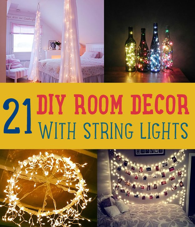 Diy room decor with string lights diy projects for Diy room decorations youtube