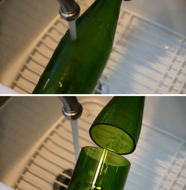 DIY Wine Bottle Glass Inspiration | https://diyprojects.com/diy-wine-bottle-glasses-how-to-cut-glass/