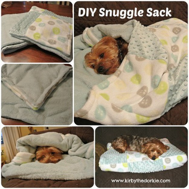 Make this doggie snuggle sack | 23 Best DIY Pet Projects for Your Cats & Dogs | https://diyprojects.com/diy-pet-projects