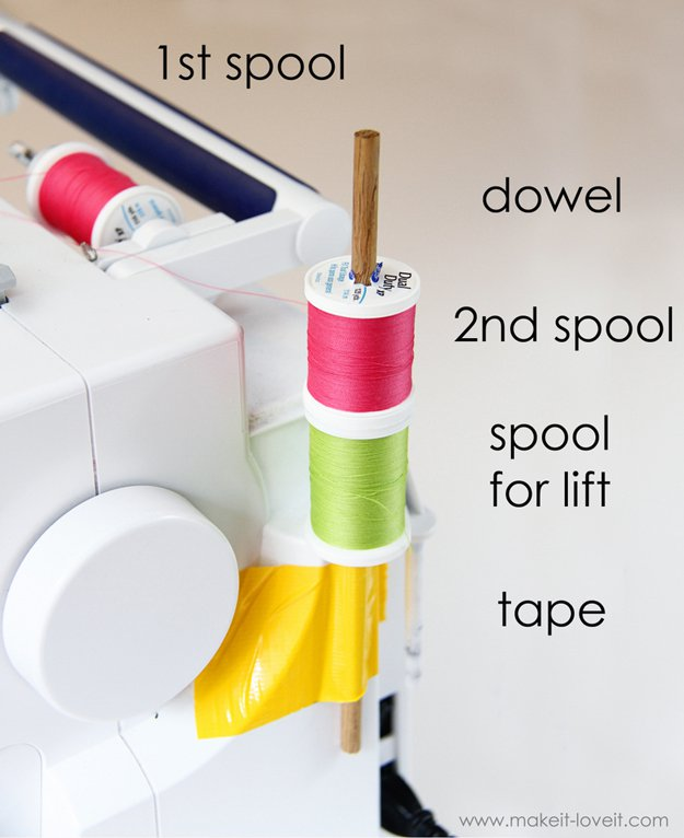 Create this sewing hack to add a 2nd spool of thread! Great hack for projects that need double needles | 25 More Sewing Hacks to Make Life Easier | Check them out at https://diyprojects.com/sewing-projects-life-hacks