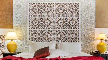 Beautiful hotel bedroom with a carved headboard in Arabic style   DIY Headboards For Your Home And Bedroom Makeover   Featured
