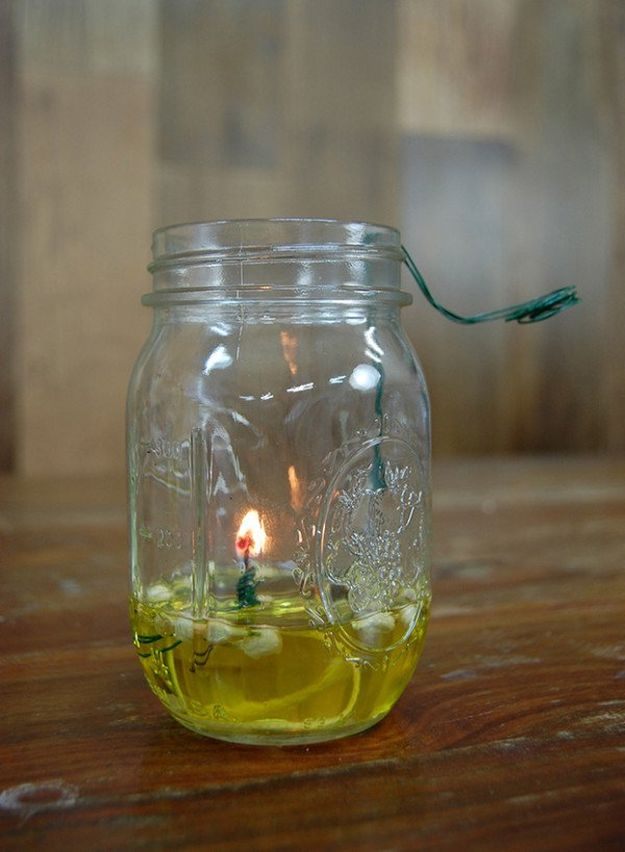 Mason Jar Oil Lamp | 21 Bright DIY Outdoor Lantern Ideas For A Cool Garden Design