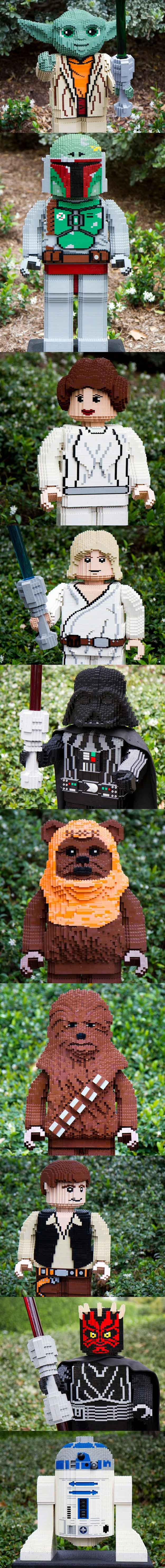 These giant star wars characters are made out of Legos! | Awesome DIY Lego Star Wars Ideas and Inspiration | https://diyprojects.com/11-diy-lego-star-wars-ideas/