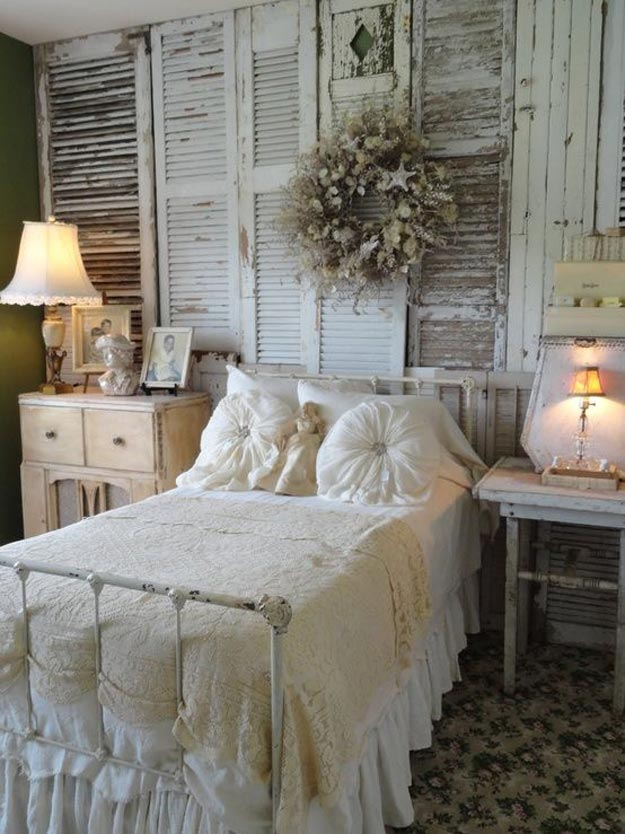 shutters wall decor 20 diy shabby chic decor ideas - Diy Bedroom Wall Decorating Ideas