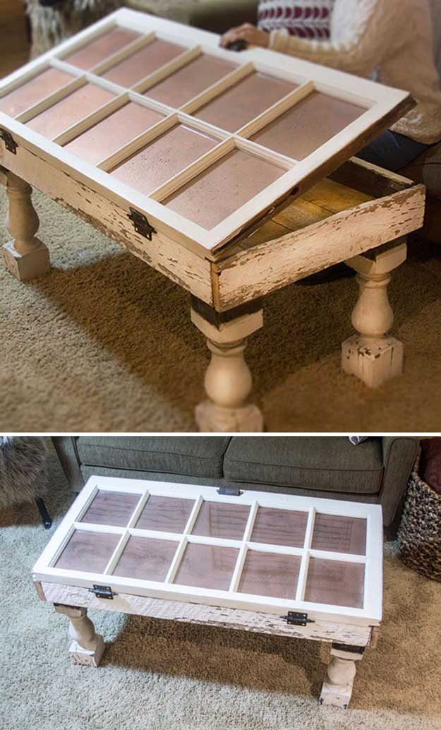 Salvaged Window DIY Coffee Table | DIY Shabby Chic Furniture Ideas | Vintage Furniture