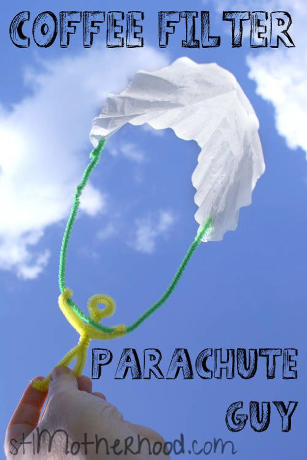 Coffee Filter Parachute Guy | Cool DIY Crafts to Make with Pipe Cleaners