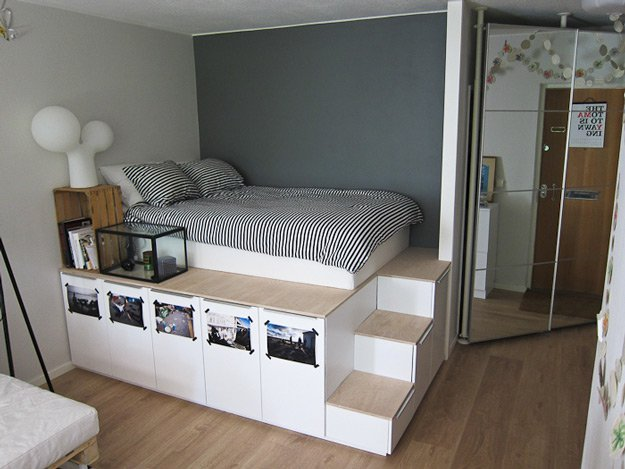 Storage and Platform Bed | 14 DIY Platform Beds to Upgrade Your Bedroom