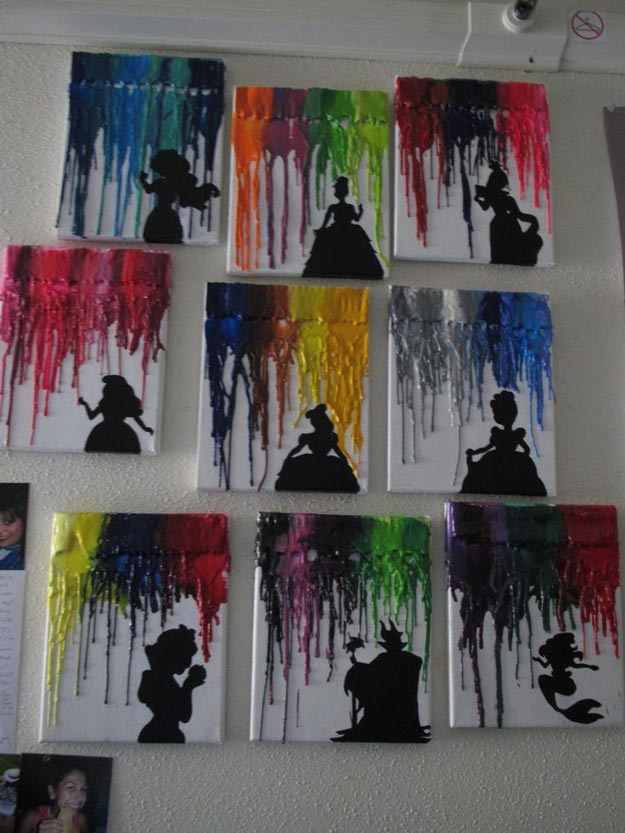 Melted Crayon Disney Art | 15 DIY Teen Girl Room Ideas