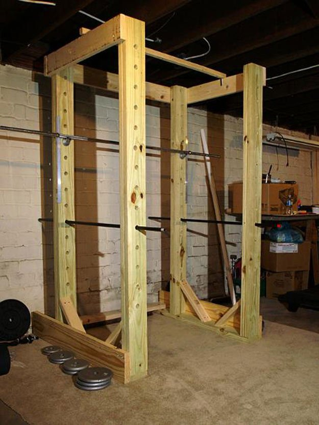 Check out 9 DIY Squat Rack Ideas at https://diyprojects.com/squat-rack-ideas/