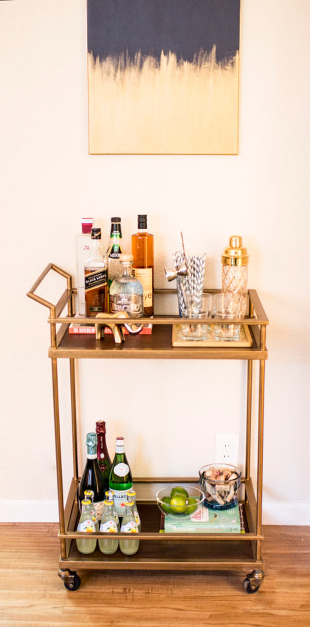 Rolling Gold Bar Cart | How to Make a Gold DIY Bar Cart