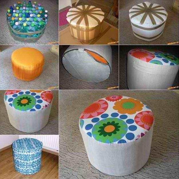 Plastic DIY Ottoman | 17 DIY Pouf Ideas, check it out at https://diyprojects.com/17-diy-pouf-ideas