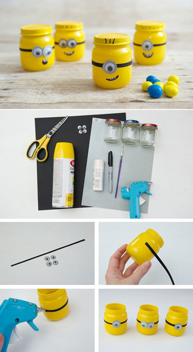 Minion Favor Jar | 23 Clever DIY Uses of Baby Food Jars
