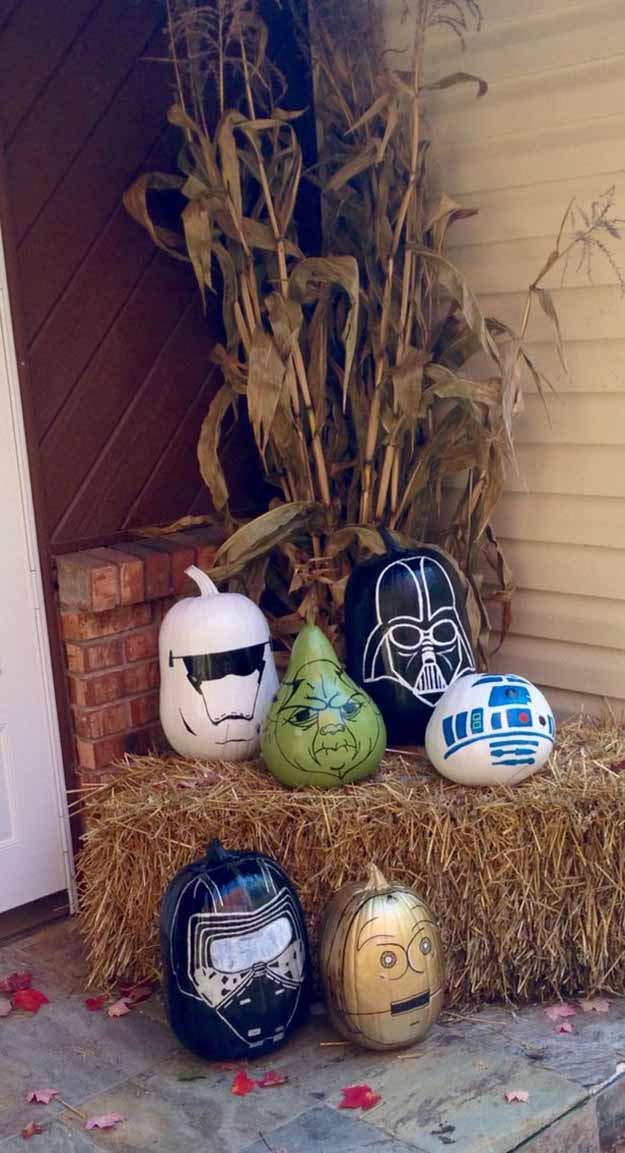 Star Wars Painted Pumpkins | DIY Star Wars Crafts to Celebrate Force Awakens Premiere, check it out at https://diyprojects.com/diy-star-wars-crafts-to-celebrate-force-awakens-premiere