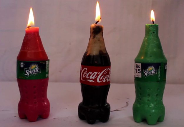 Mini Coca-Cola and Sprite DIY Candles | https://diyprojects.com/mini-coca-cola-and-sprite-diy-candles