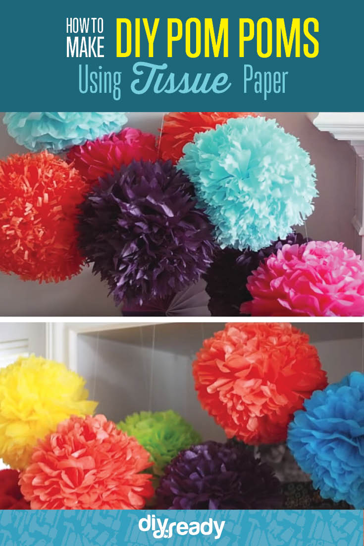 how to make pom poms from tissue paper These tissue paper pom poms are inexpensive, but look impressive when hanging in groups from chandeliers or the ceiling.