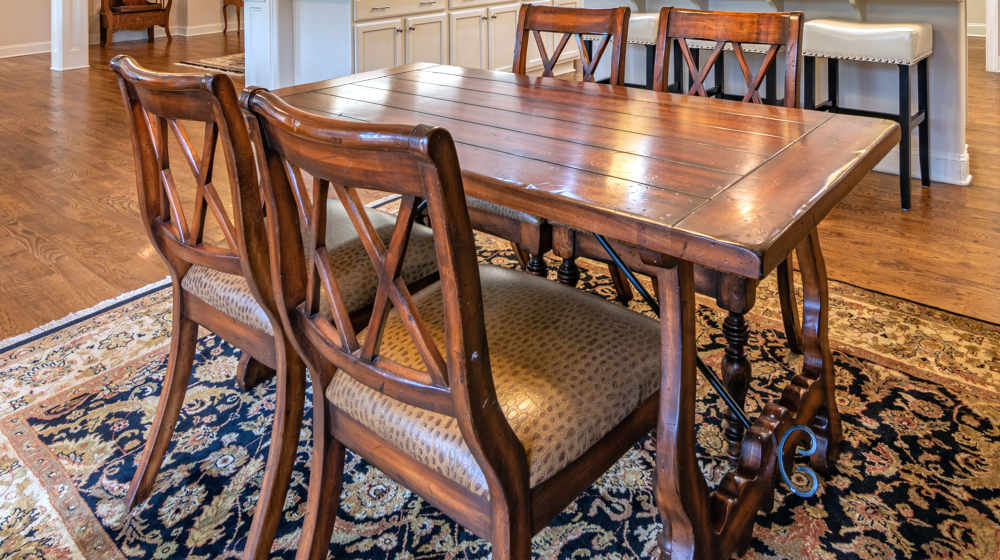 Rectangular brown wooden dining table and wooden chairs | How To Restore Furniture | how to refinish a table | Featured