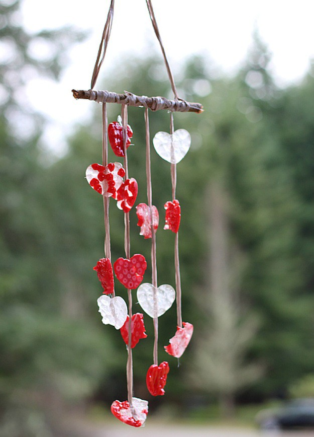 Heart Wind Chimes | 14 DIY Valentine's Day Crafts For The Kids