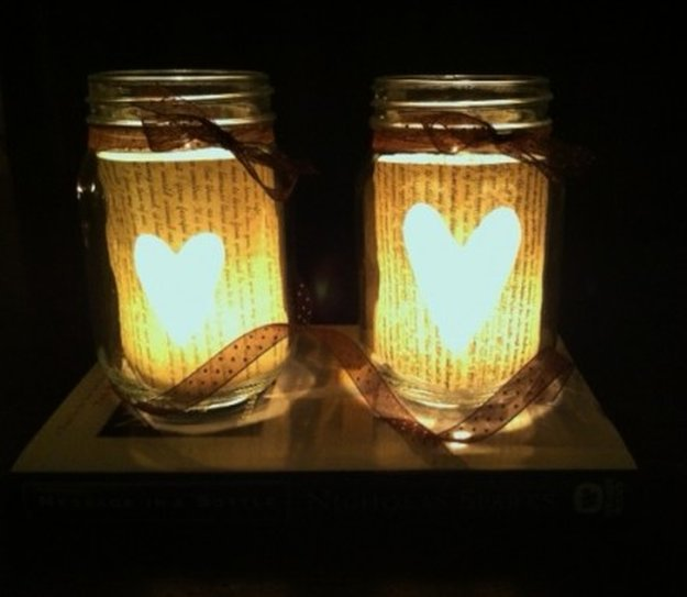 DIY Book Page Mason Jar Candle Holder|23 DIY Crafts With Mini Mason Jars