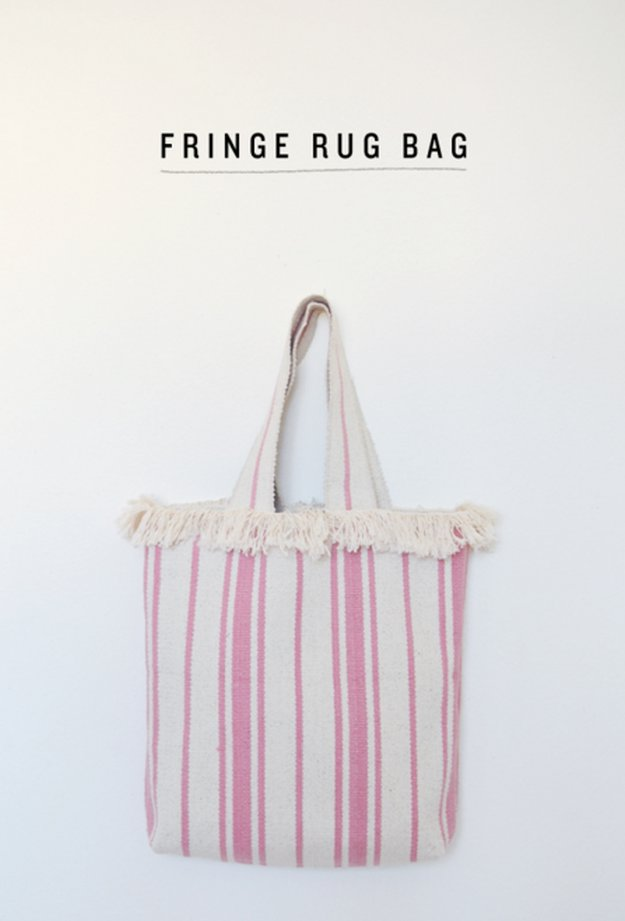 Fringe Rug Bag|DIY Projects That Started Out as Rugs And Became Something Else Entirely