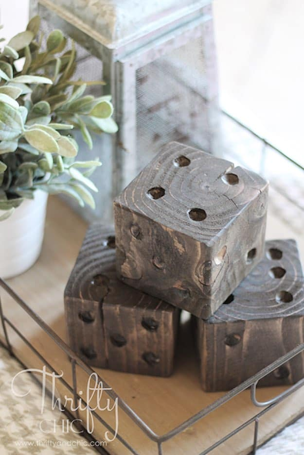 Oversized Wood Dice | 31 Super Cool DIY Reclaimed Wood Projects