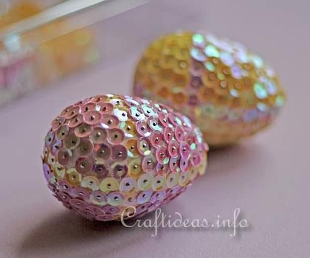 Sequined Easter Eggs | Easter Egg Decorating Ideas Anyone Can Make | DIY Projects