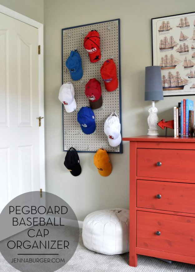 Pegboard Baseball Cap Organizer DIY Bedroom Projects for Men