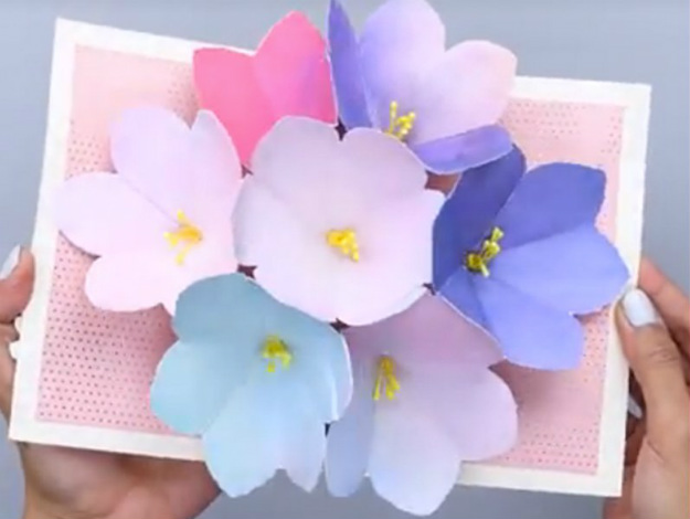 Diy Mother S Day Pop Up Flowers Card Homemade Cards Handmade Crafts