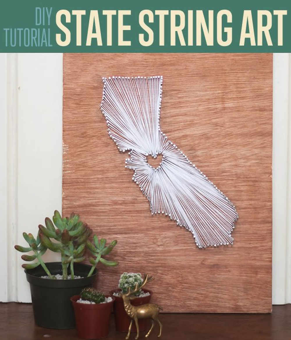DIY Tutorial State String Art | DIY String Art Tutorial | State Themed Wall Art | https://diyprojects.com/diy-crafts-string-art-tutorial