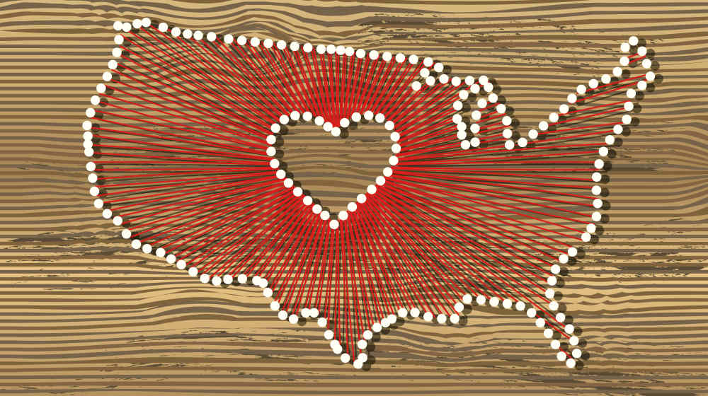 USA art vector map with heart | DIY String Art Tutorial | State Themed Wall Art | string art supplies | Featured