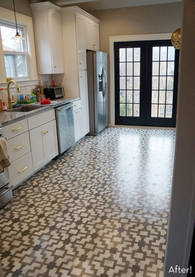 DIY Stenciled Cement Floor | 10 DIY Home Project Ideas For Your Cement Floors