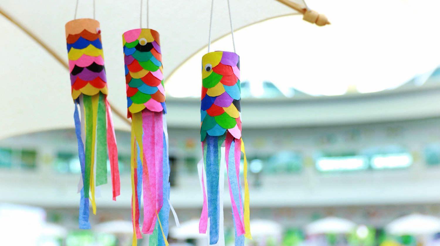 Colourful fish mobile hand craft made from toilet paper roll | Fun & Easy Toilet Paper Roll Craft & Projects For Kids | Featured