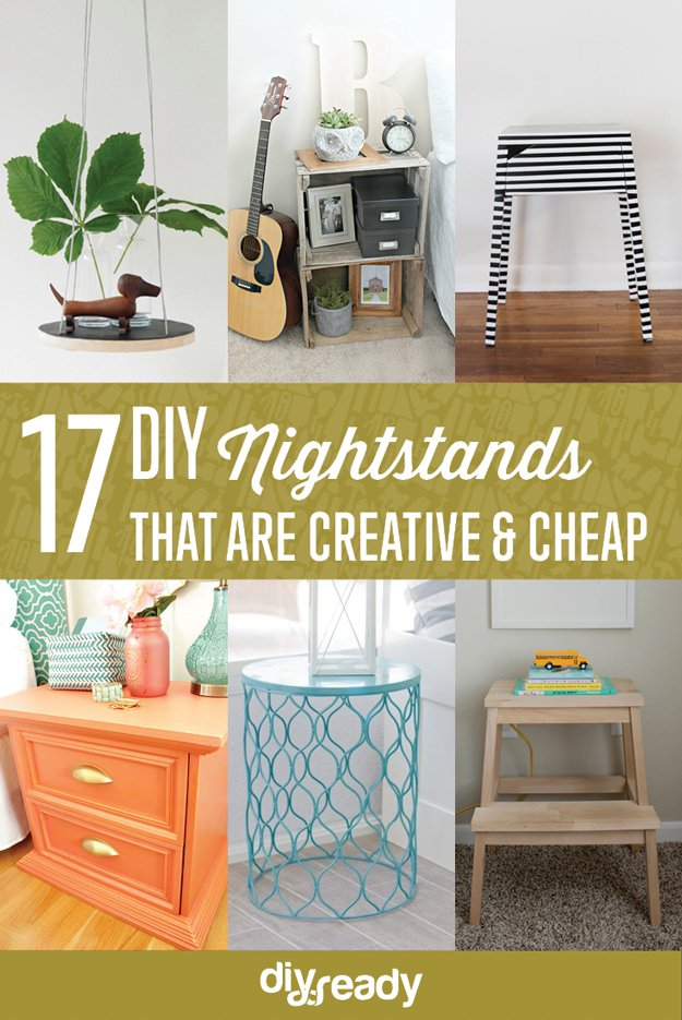 17 Creative and Cheap DIY Nightstands | DIY Bedroom Ideas On A Budget For First Time Home Owner