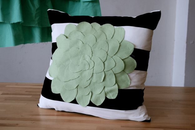 DIY Pillow Flower Applique | DIY Tiny Home Decorating On A Tiny Budget
