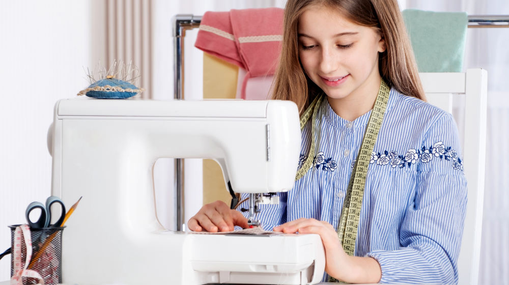 Teenager girl working with sewing machine as a tailor | Easy DIY Projects For Teens Who Love To Craft | Featured