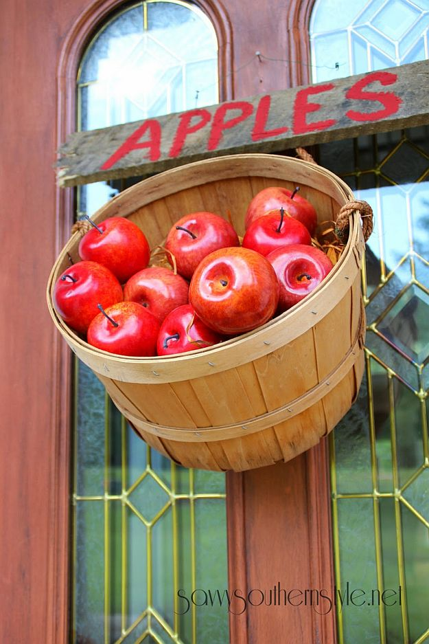 Festive Basket Of Apples | Curb Appeal Front Door Ideas For Fall
