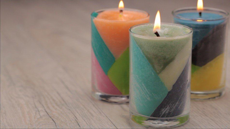 How to Make Color Block Crayon Candles