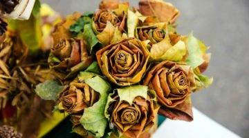 Bouquet of the roses made of dried autumn leaves   DIY Decorating Ideas With Actual Fall Leaves   Featured