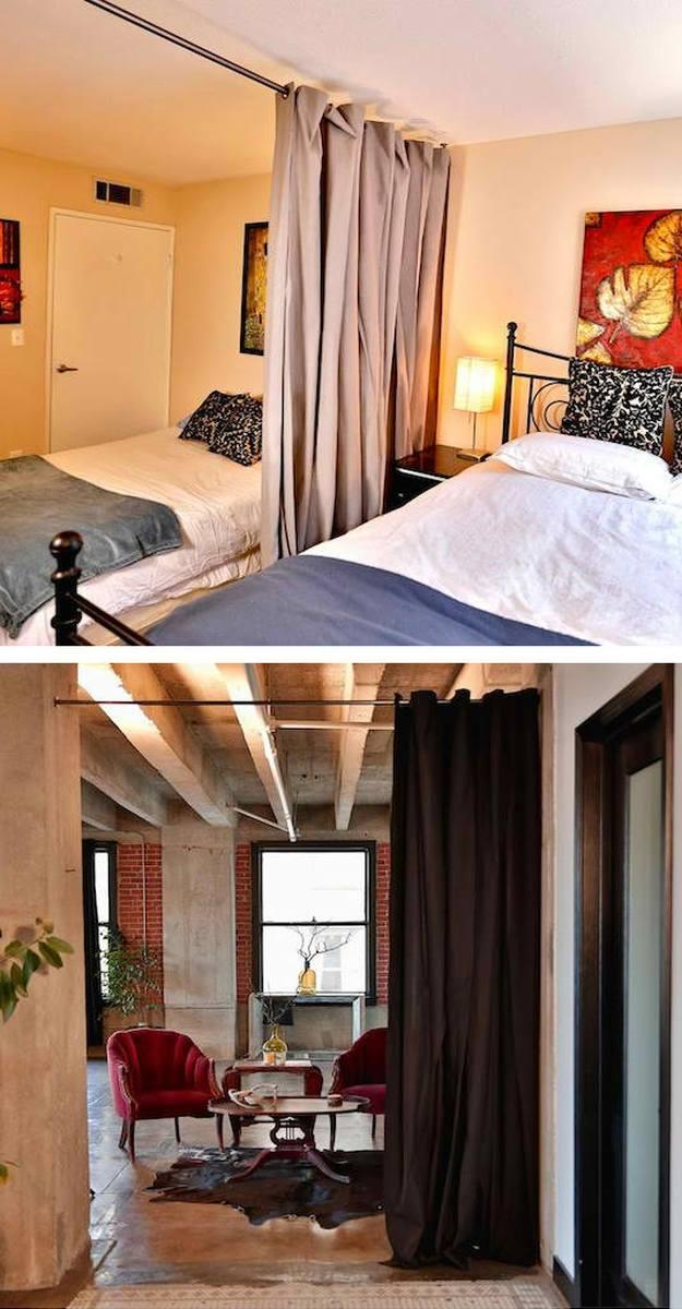 Curtain Separation | Space Saving Ideas For Your Studio Apartment